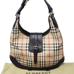 100%  Auth Burberry Brooke Hobo Bag Excellent